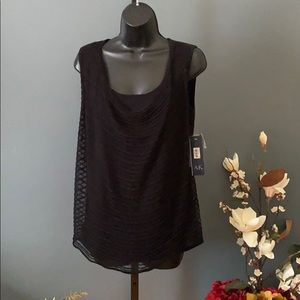 ANN KLEIN WOMENS BLOUSE SZ M NWT BLACK